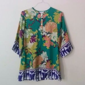 cAbi #812 Poetry Mixed Print Floral Silk Tunic Top