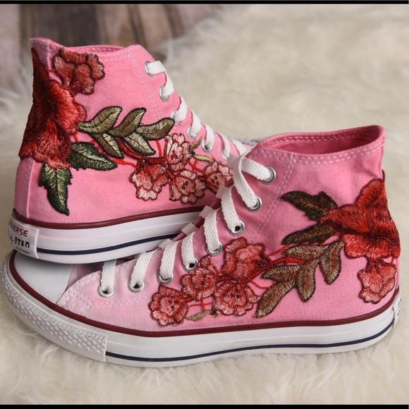44c2ac61edcb6d Converse Shoes - Pink converse hitop ombré floral patch custom shoe