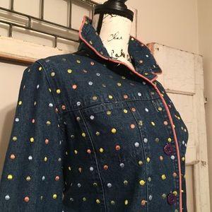 Vintage Keren Hart Polka Dot Jean Jacket