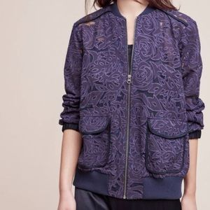 Lace plum color Anthropologie bomber jacket