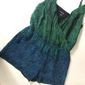 Club Monaco Blue Green Silk Printed Romper Size 4