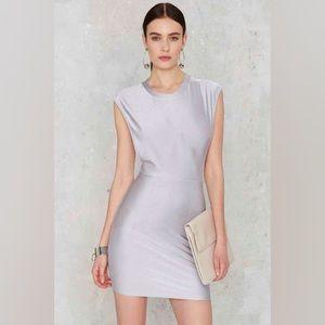NEW Shiny Silver Bodycon Dress