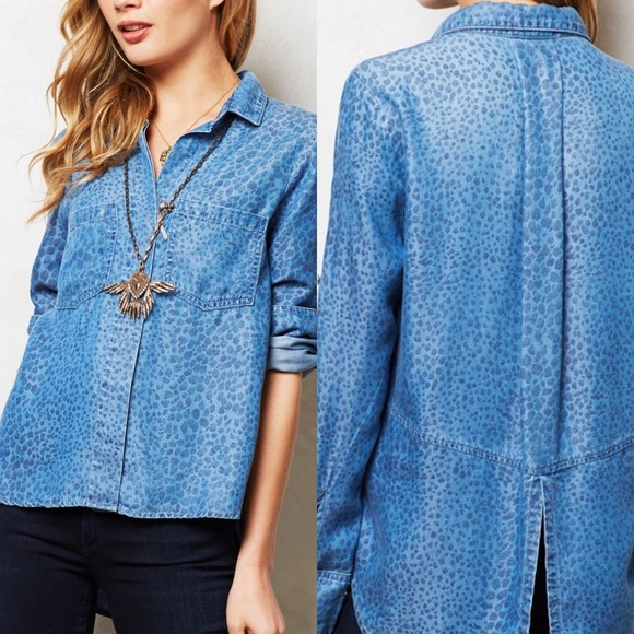 009421fd377b Anthropologie Tops - Anthropologie Cloth & Stone | leopard chambray top