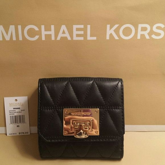 25d39288fb17 Michael Kors Vivianne Trifold Quilted Wallet NWT