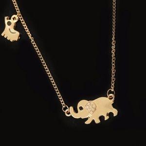 Jewelry - Gold Mom & Baby Elephant Necklace
