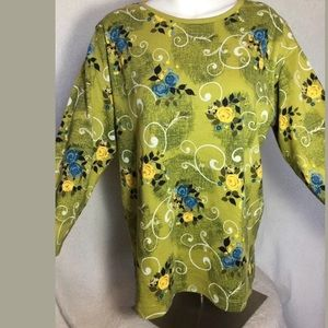 Karen Scott Sport medium 3/4 sleeve Floral top