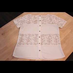 Button-back lace combo blouse