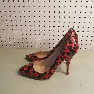 MIU MIU Red Leather Snake Skin Print Pointed Shoe