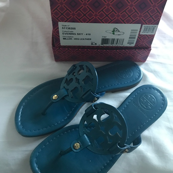 97966de08ee8a2 Tory burch evening sky Miller leather sandals. M 59db78b69c6fcf9010037eae