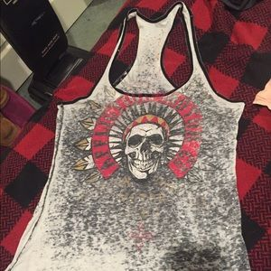 Affliction skull tank top racer back size med