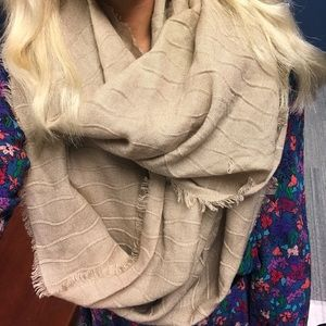Francesca's Nude / Tan Infinity Scarf with Fringe