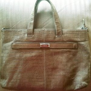LODIS TAUPE LEATHER LARGE TOTE