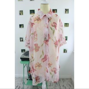 Floral Chiffon Button Up In Pink