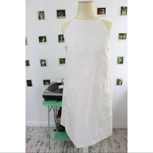 Floral Lace Applique Shift Dress In White
