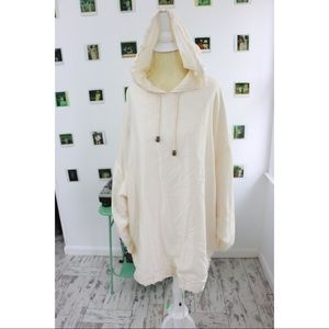 Oversized Silk Terry Hoodie In Ivory