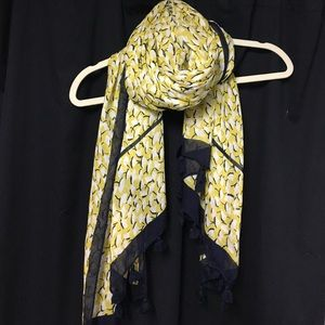 Ann Taylor Lightweight Tassel Scarf Green and Navy
