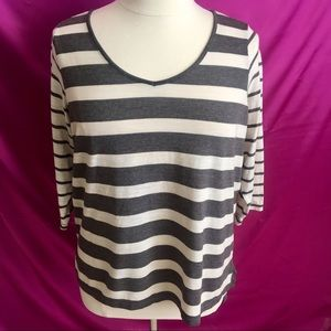 TORRID PLUS 1X STRIPE LONG SLEEVE TOP BLOUSE
