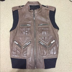 BCBG MaxAzria Leather Wool Vest. Size Small (S)