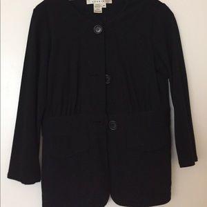 Max Studio Black 3/4 Sleeve Button Cardigan