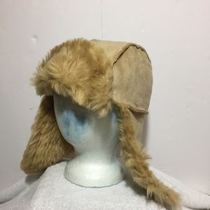 NEW! Vegan Faux Shearling Fur Hat with Ear Flaps