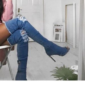 Shoes - Over the knee denim sexy peep toe boots 7