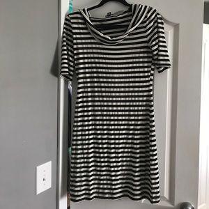 Allen B. Black & White Stripe Hoodie Dress