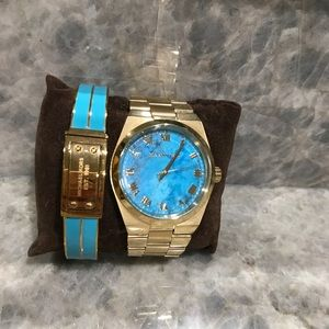 MK 5984 Turquoise Watch and matching bangle