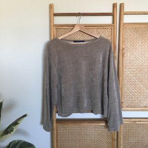 Sweaters - ▪️velvet tan sweatshirt▪️comfy & fuzzy