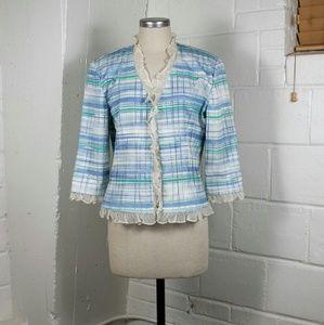 St. John plaid ruffle blazer jacket