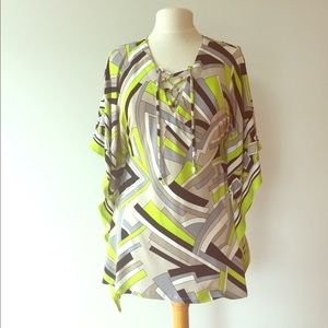 Michael Kors Geometric Print Tunic Kimono Batwing