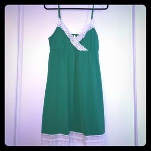 Beautiful green with white lace dress worn ONCE