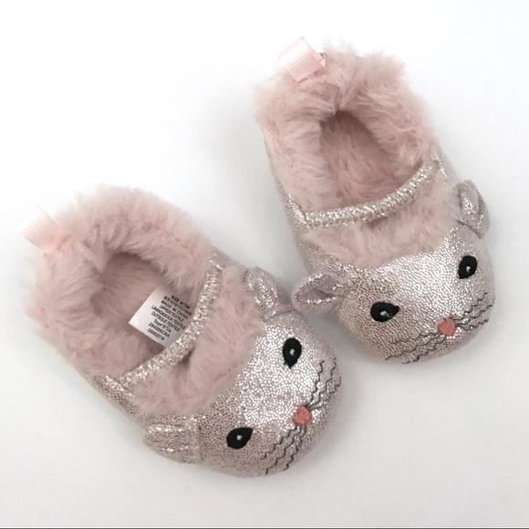 Koala Kids Pink Kitty Koala Baby Slippers NWOT from