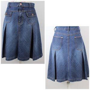 BandolinoBlu Jean Skirt Pleated Stretch Sz 10 - 12