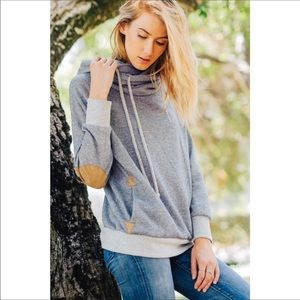 Tops - Turtleneck Hoodie in Grey.