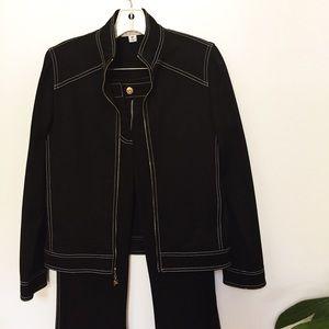 St. John Sport Black and White Jacket & Pants Set