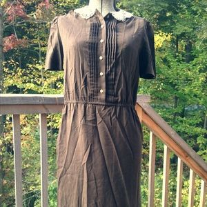 vintage pintuck dress with lace collar