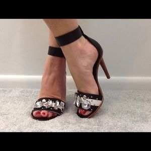 TIBI Wide Ankle Strap High Heel Sandals