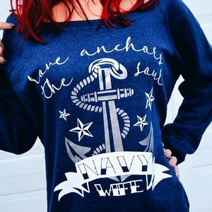 Love Anchors The Soul Navy Wife Slouchy Sweater