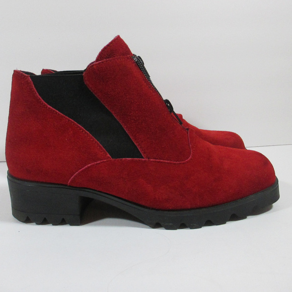 9b994eae6 Barbo Shoes | Red Suede Ankle Boots Womens 885 | Poshmark