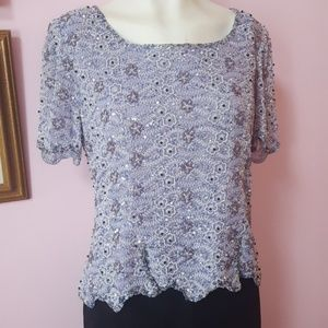Silk beaded vintage top Marina size 10