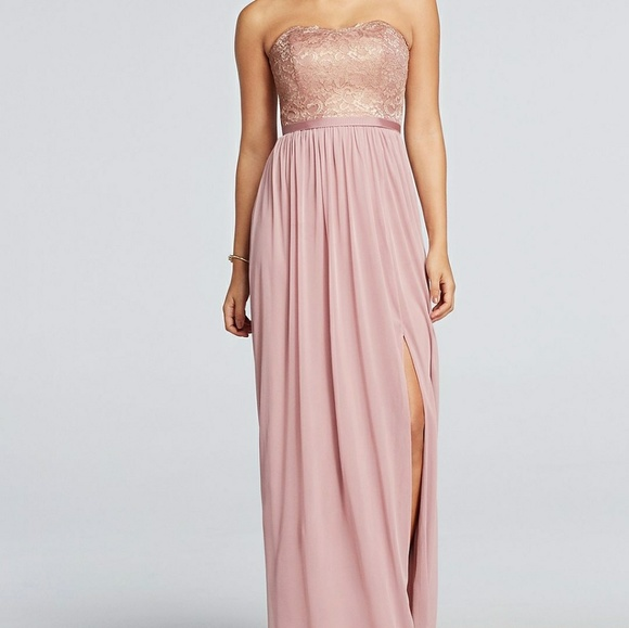 David S Bridal Dresses Rose Gold Metallic Strapless Bridesmaids