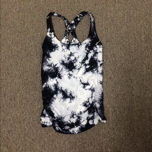 nux black & white fitted tank