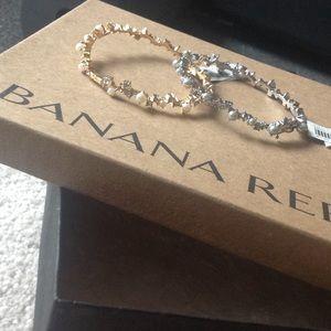 Pearl and crystal bangle bracelets