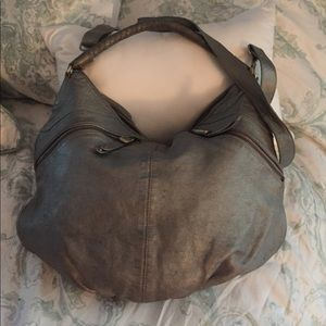 Banana Republic distressed silver leather handbag