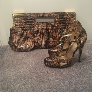 Other - Alligator print heels with matching bag.