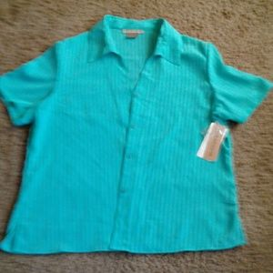 Strips blue green shirt