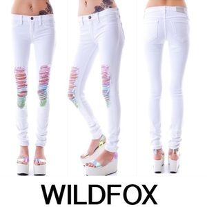Wildfox STAR BUSTER MARIANNE JEANS Wht/Rainbow s29