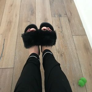 Furry slide on shoes