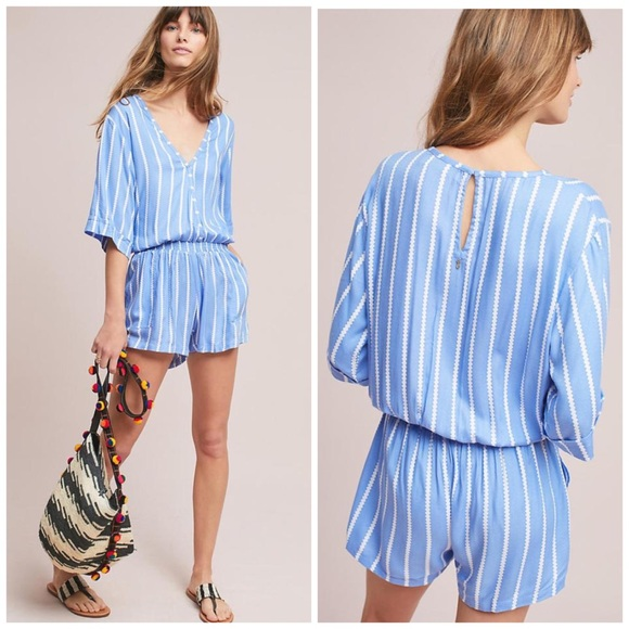 56d4c110d57 Anthro Beachgold Ancona Striped Romper Blue White