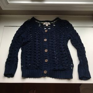 Decree Navy Button Up Sweater